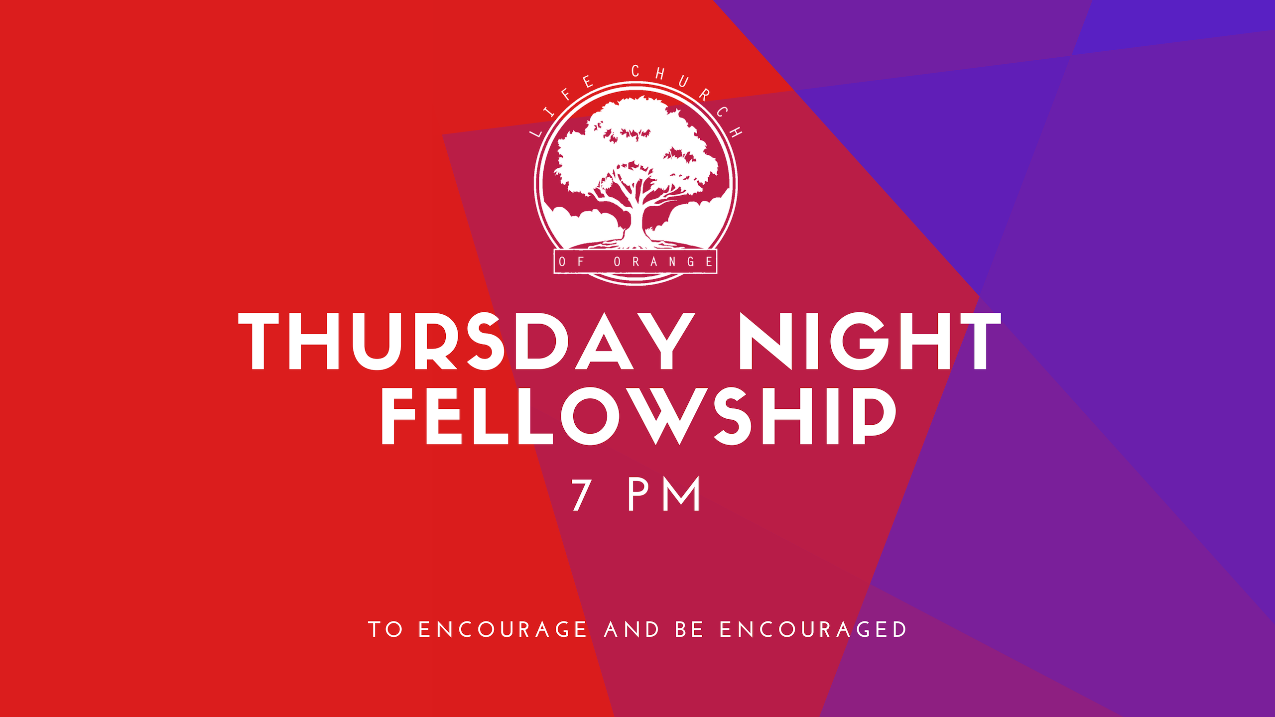 We invite you to join us Thursdays at 7PM for fellowship, food and study in God's Word.