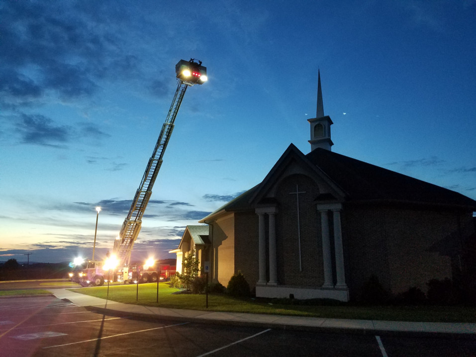 Fire Department practicing at church