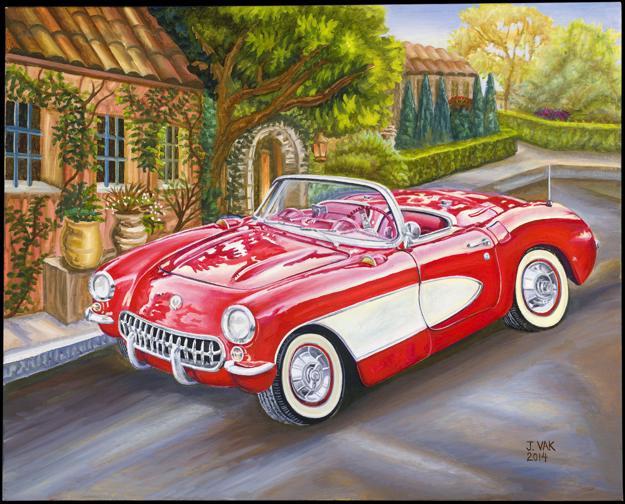 1956 Chevrolet Corvette      24x30 Original Oil             $3600              2014