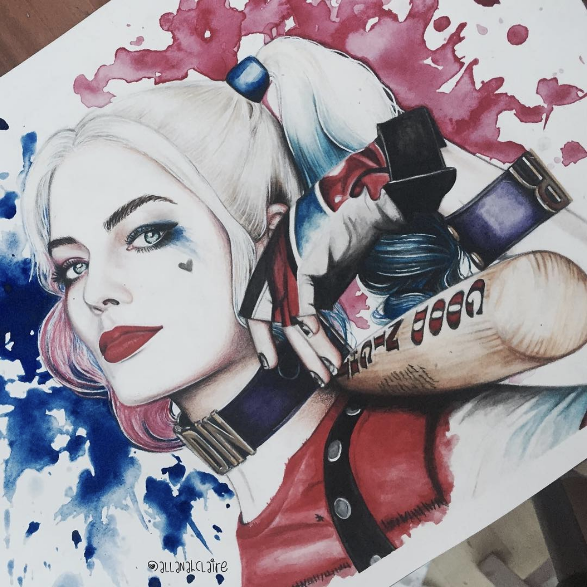 Harley Quinn, Watercolour, 2016.