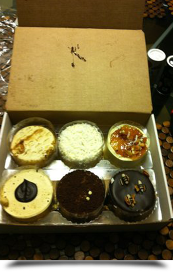 Box full of yummy desserts||||