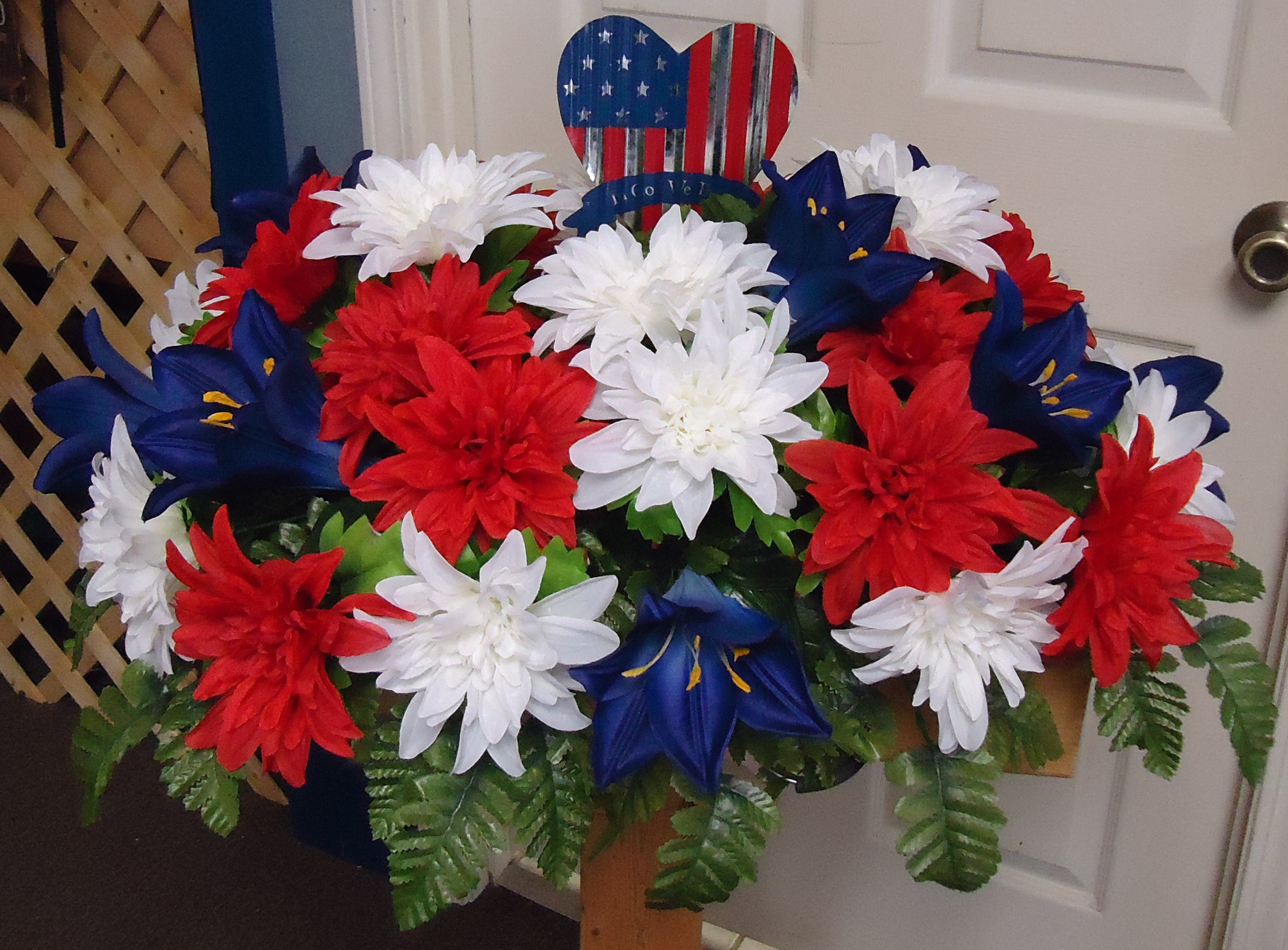 "(1)  ""SILK"" Monument Saddle Red, White & Blue $65.00"