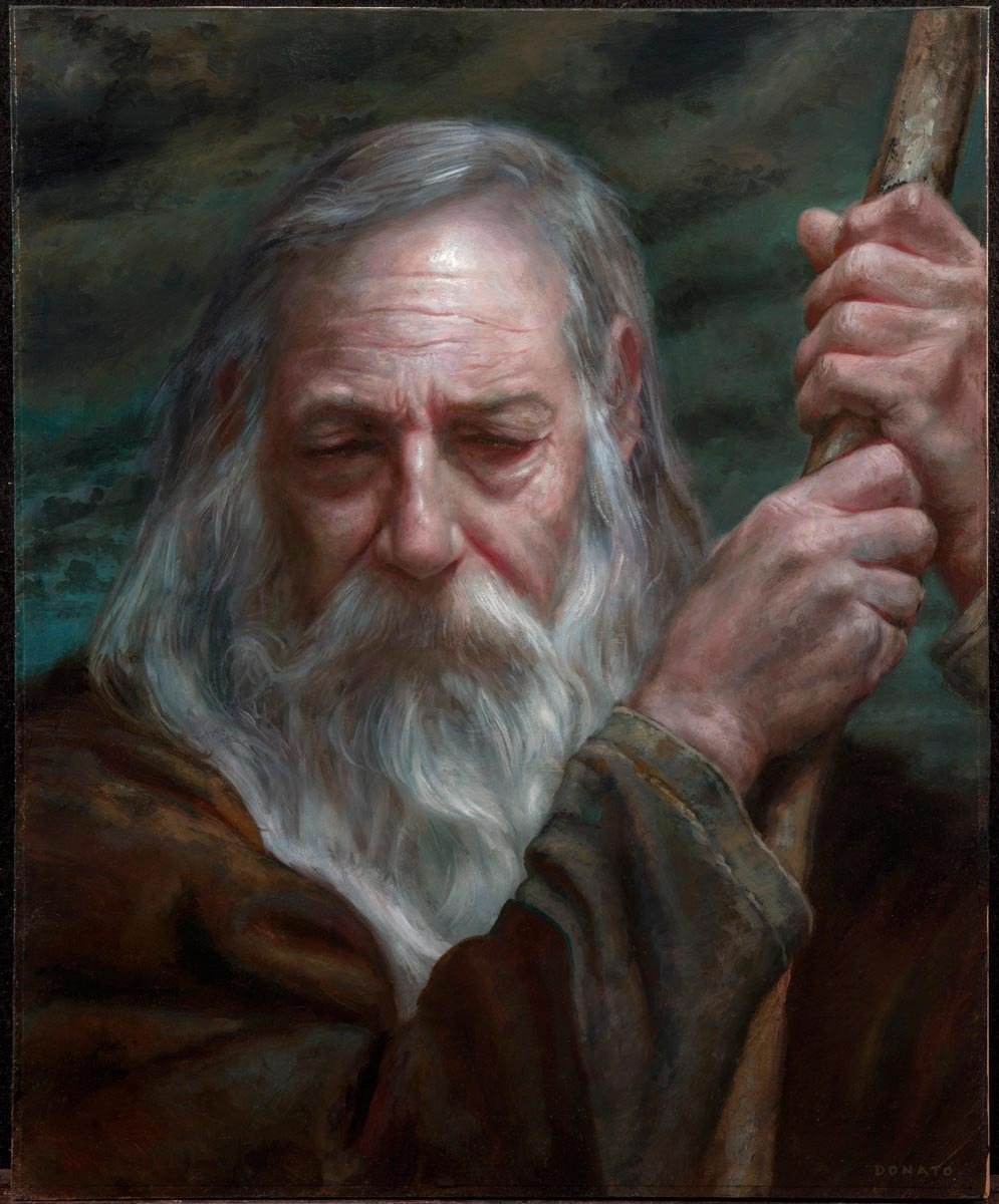 "Gandalf - Pensive 20"" x 16""  Oil on Panel collection of Leo Gonzales"