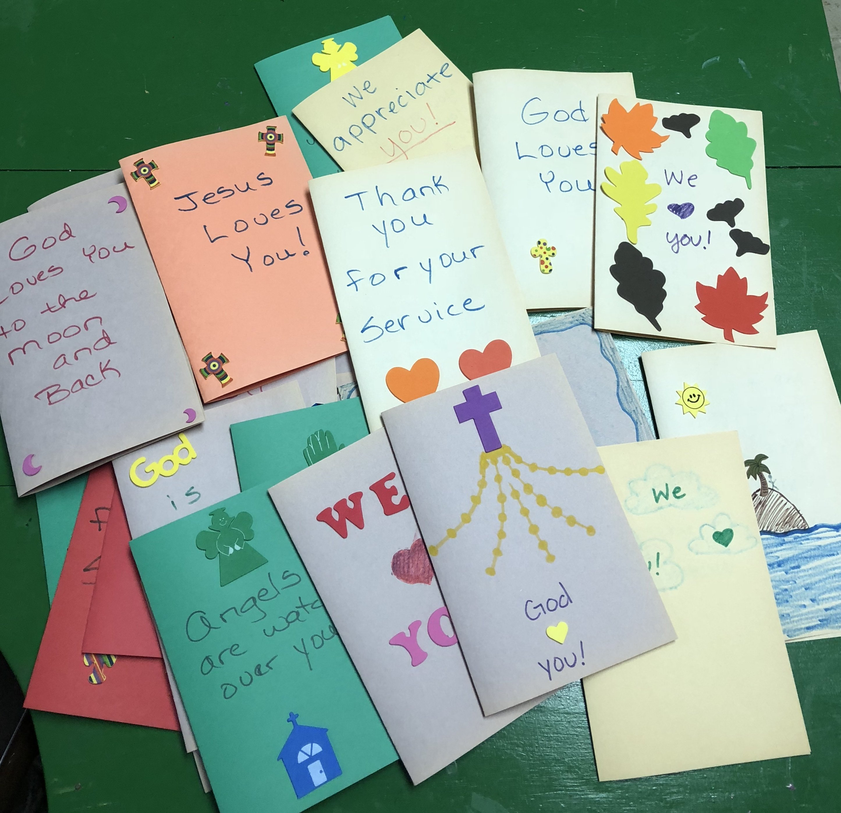 The Sunday School children made cards for the Veterans service project of Altrusa Club.