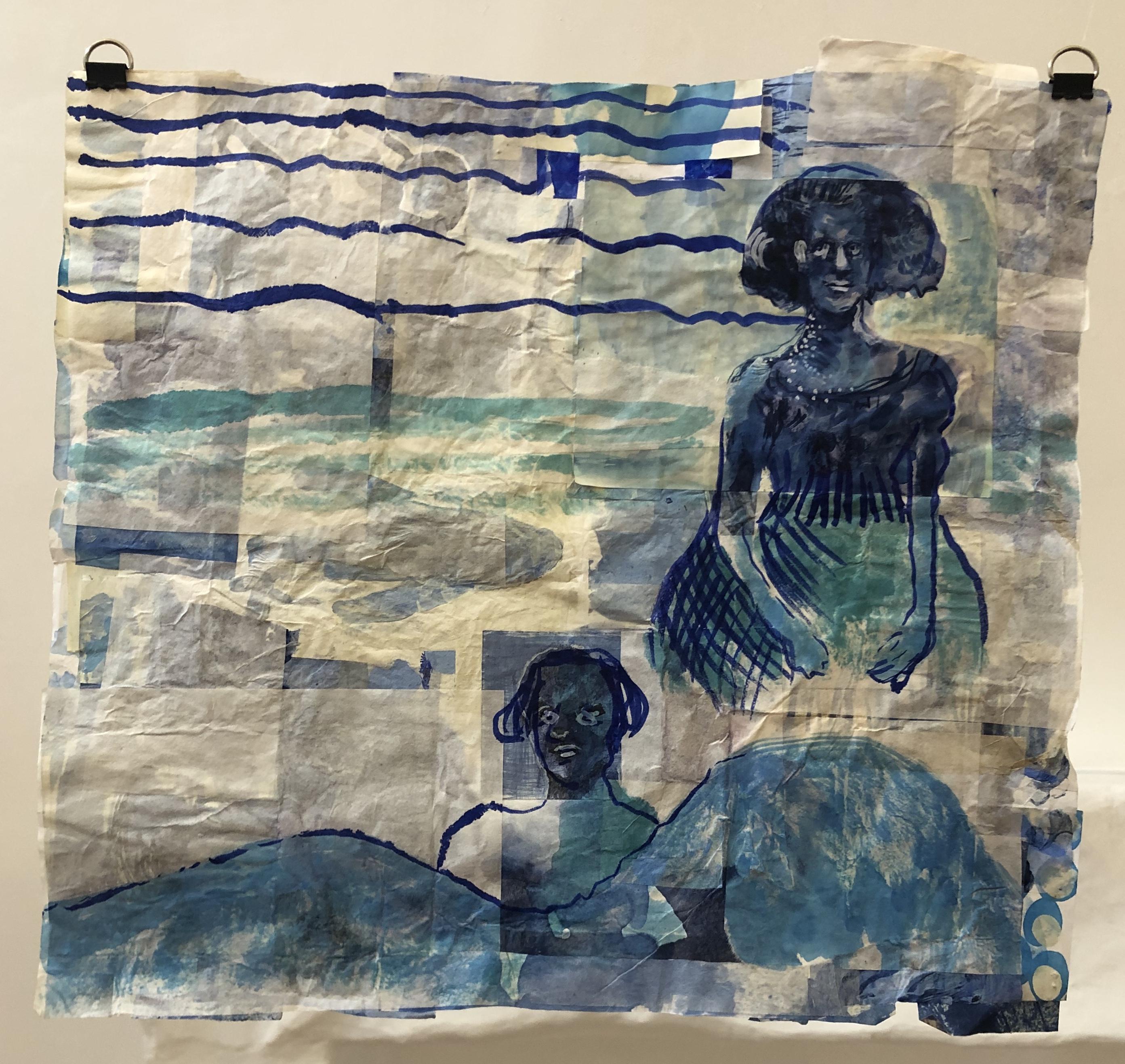 Blue Gardens IV tinta sobre papel de arroz 50 x 47
