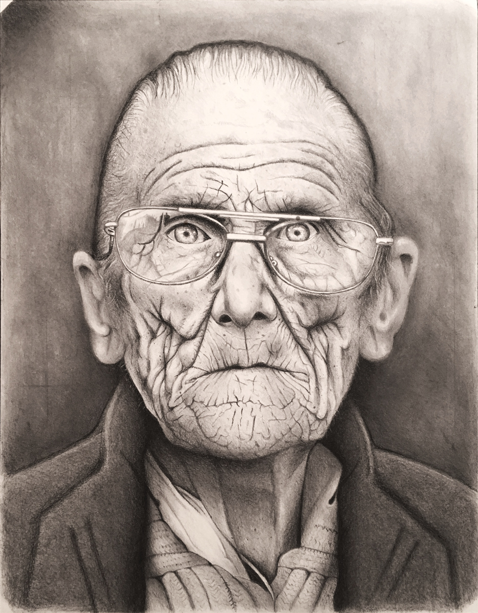 Man Portrait, 2017 Graphite on Paper 12 in × 16 in