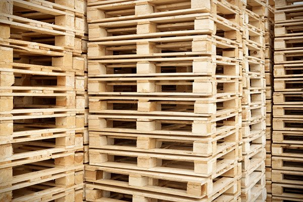Wooden pallet stacked