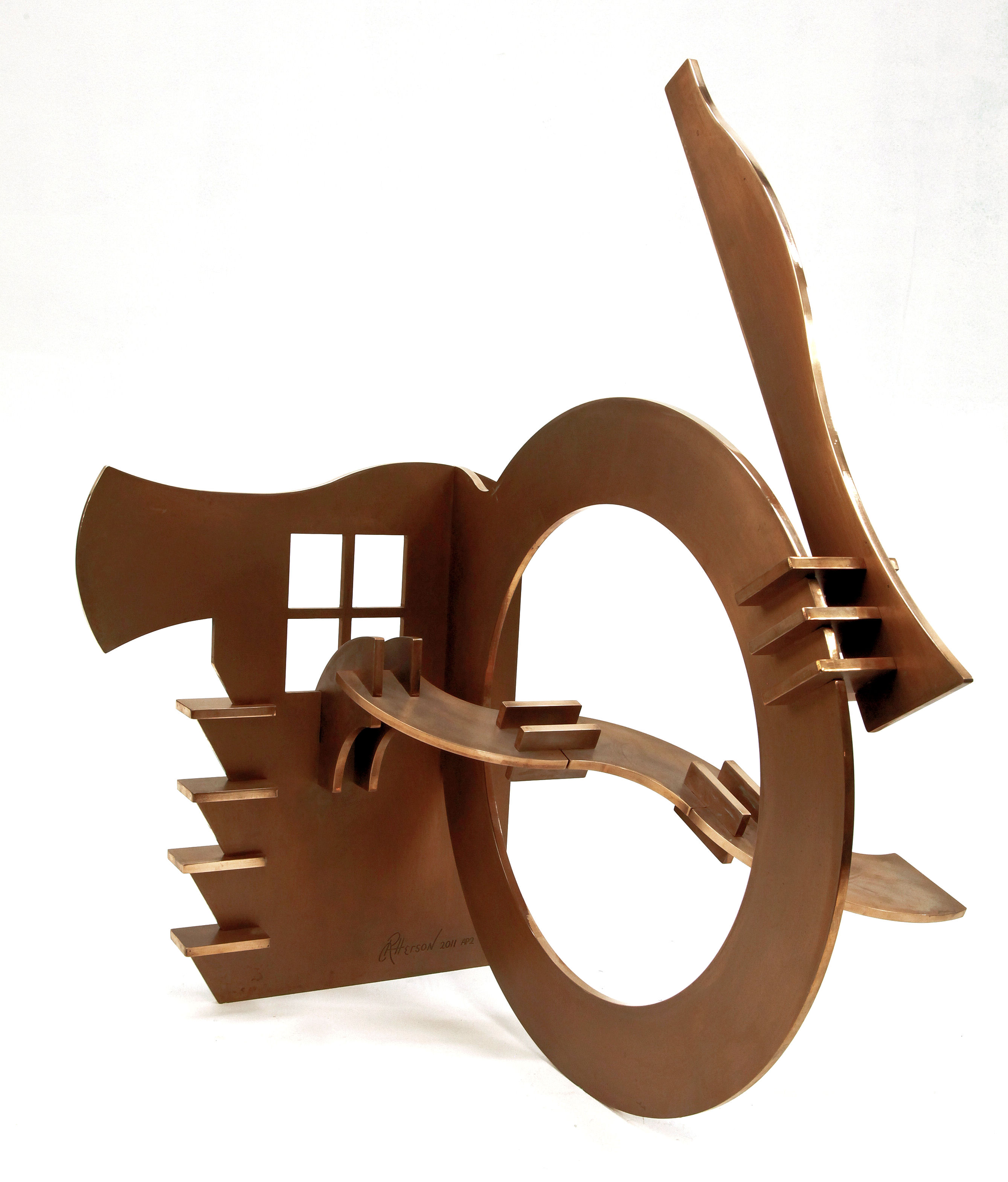 "View From Shungo's Window - 2011, Fabricated Bronze with Patina, 35"" x 31"" x 27"""