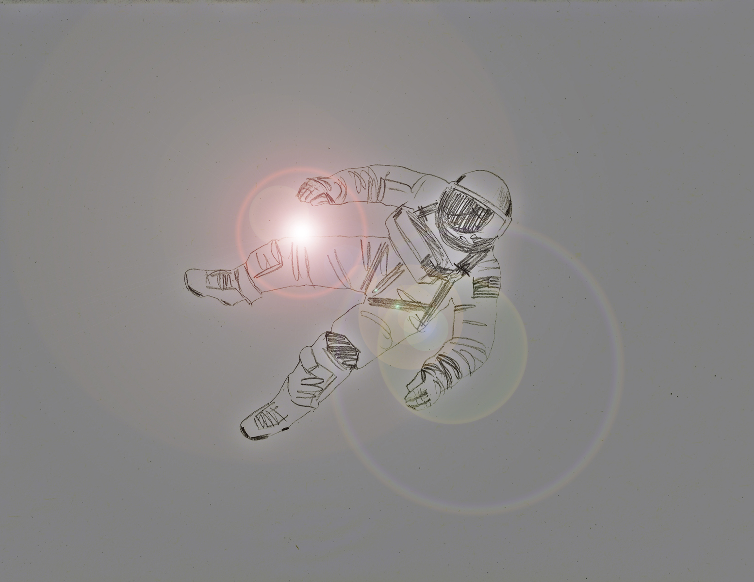 A pencil drawing of an astronaut in space on a grey background, with lens flare.