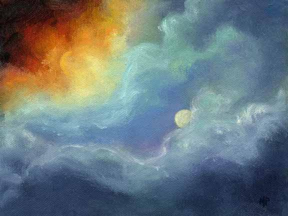 """Sun And Moon - 6""""x 8"""" Oil on Stretched Canvas  Sold"""