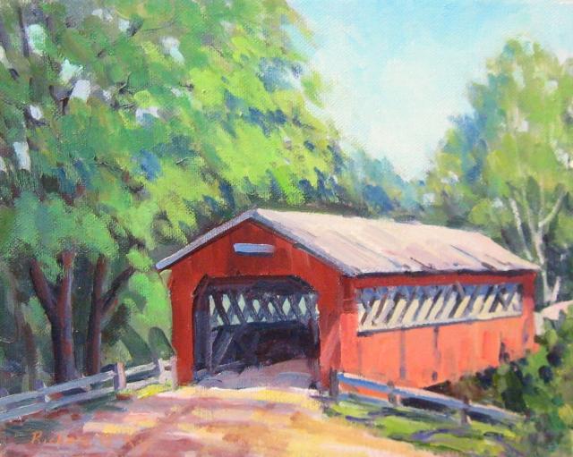 Covered Bridge, East Arlington, VT, 8 x 10 Oil