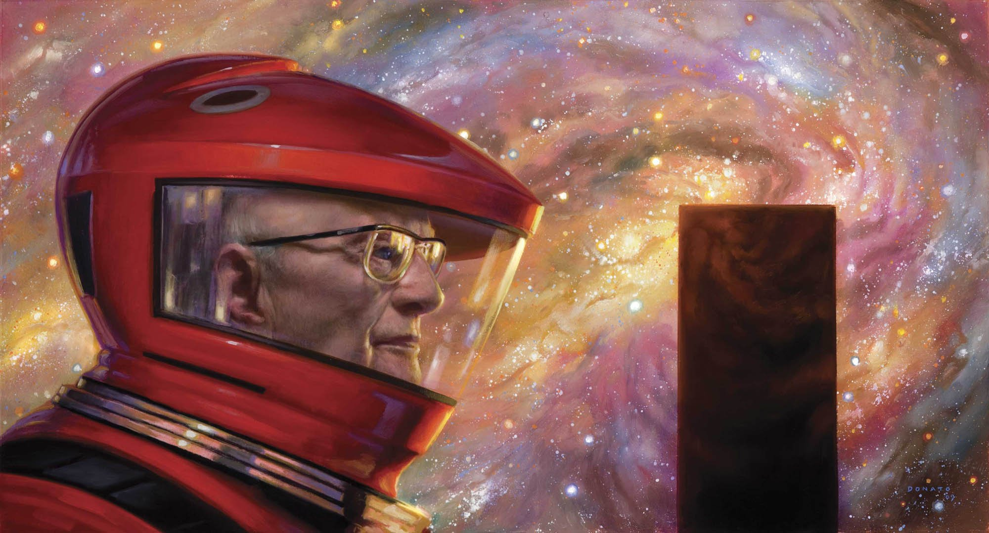 "2001 A Space Odyssey Revisited - Arthur C. Clarke 16"" x 24"" Oil on Panel 2015  collection of Avrim Fishkind and Wendy Hawkins"