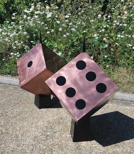 Thermal metal finishes Copper finished Dice Garden Sculpture