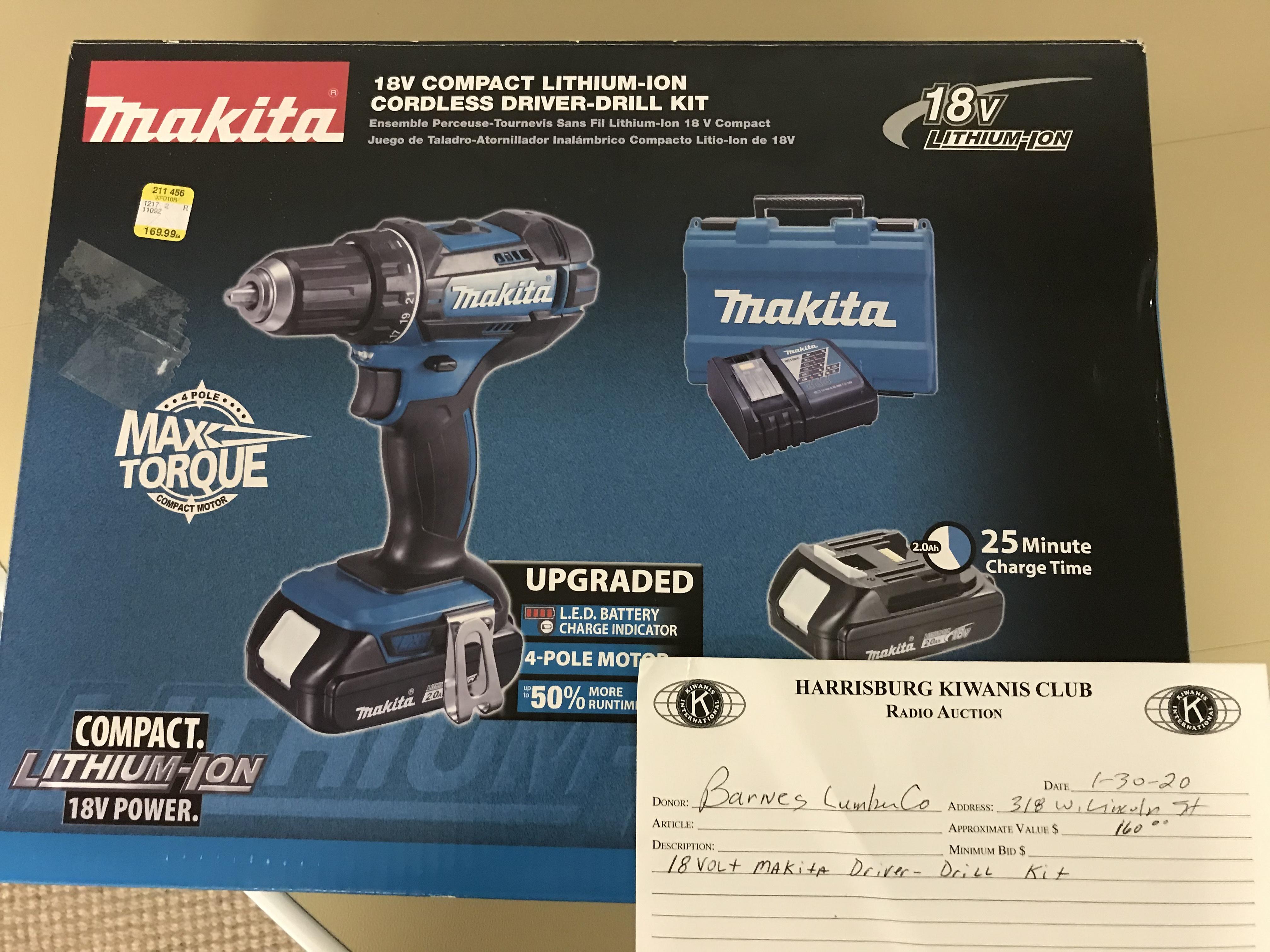 Item521 - Barnes Lumber 18 Volt Makita Driver/Drill Kit
