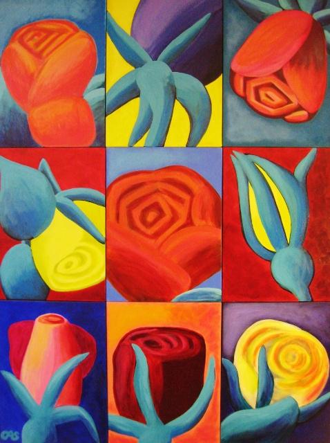 Spils, Big Roses, 72x54, Acrylic
