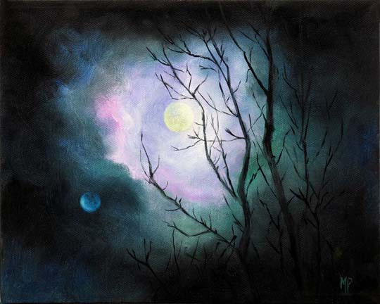 """Mystical Moon  8"""" x 10"""" Oil on StretchedCanvas  SOLD"""