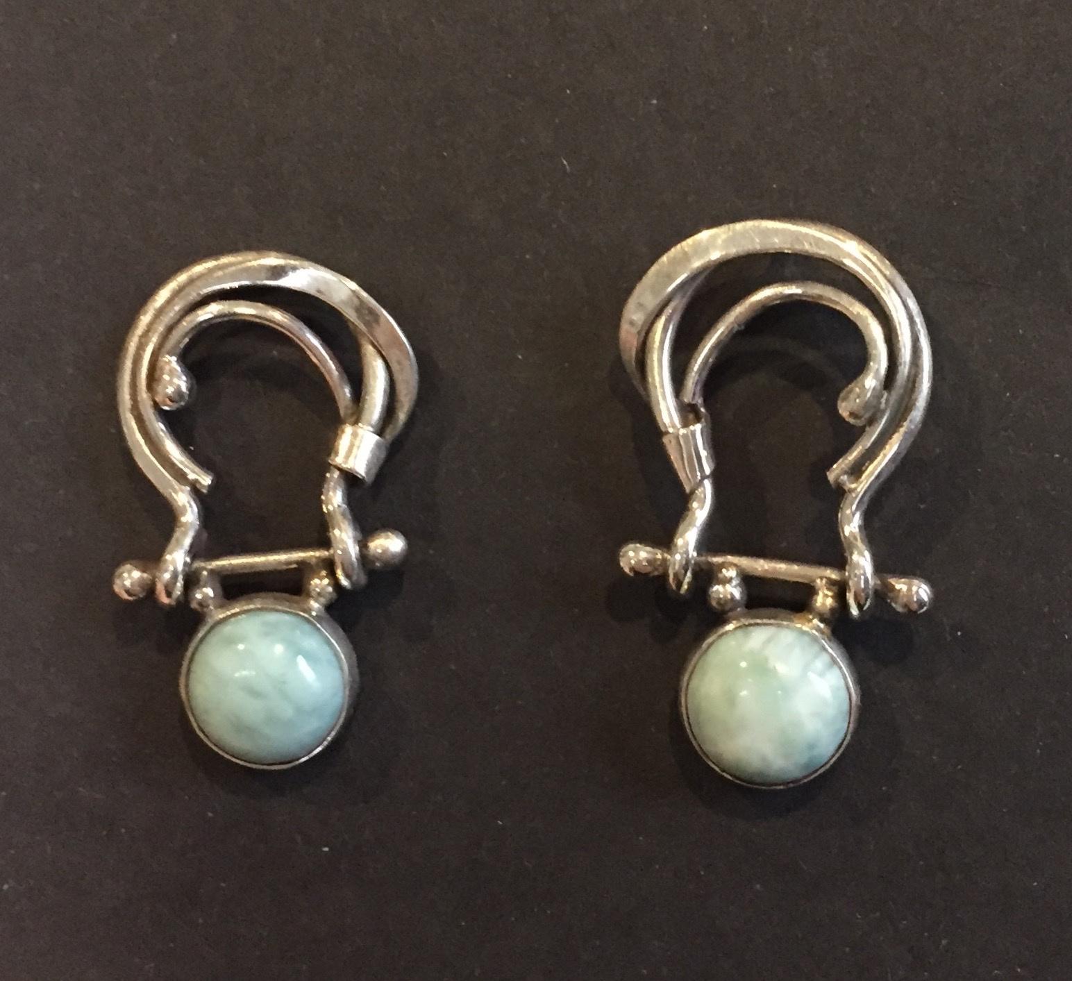 Larimar Earrings sterling and larimar $125.