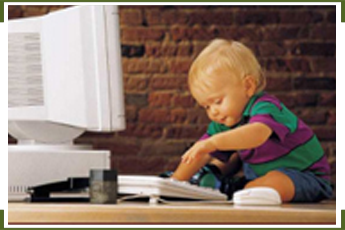 Baby in Front of Monitor