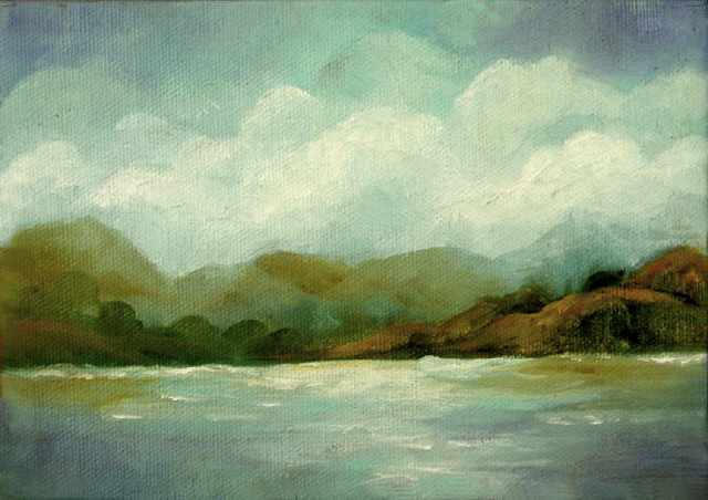 """Lake View - 5""""x 7"""" Oil on Stretched Canvas  Sold"""