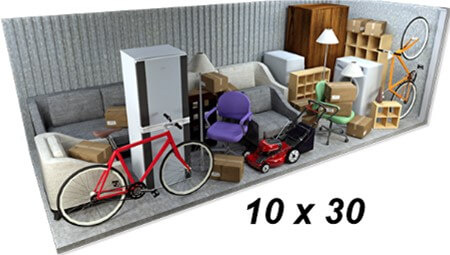 what fits in a 10x30 storage unit