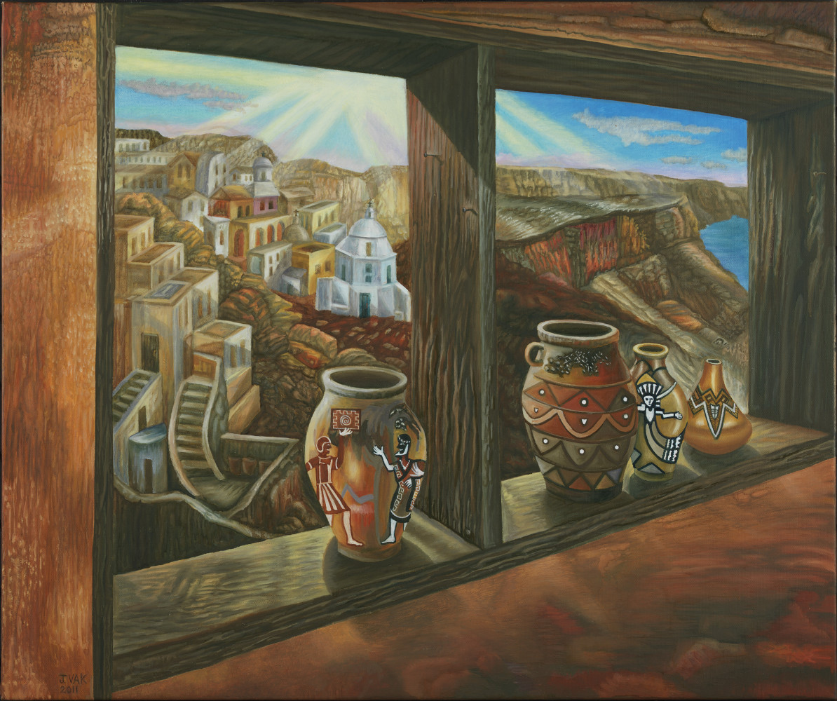 Greek Mountainside Village 30x36 Original Oil $3850 2012