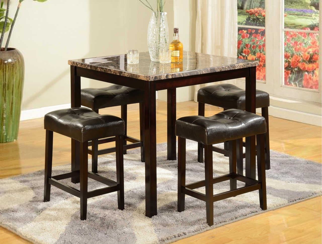 5pc dining dinette table chairs u0026 bench set walnut finis