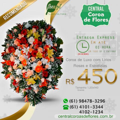 Coroa de Flores de Lírios, Rosas e Estrelizias