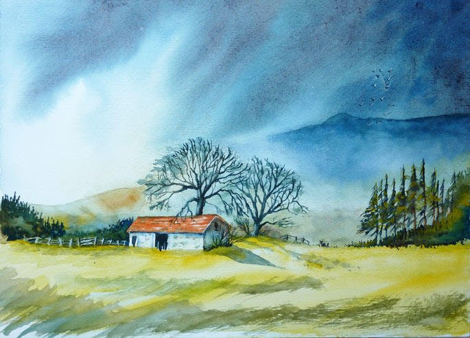 The White Barn ..... Watercolour