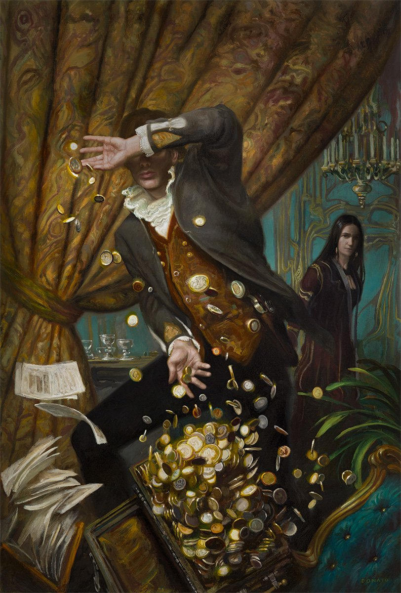 "Assassin's Price 27"" x 18""  Oil on Panel  2016 cover illustration for the novel by L.E. Modessit, Jr in his Imager's Portfolio series from Tor Books private collection"
