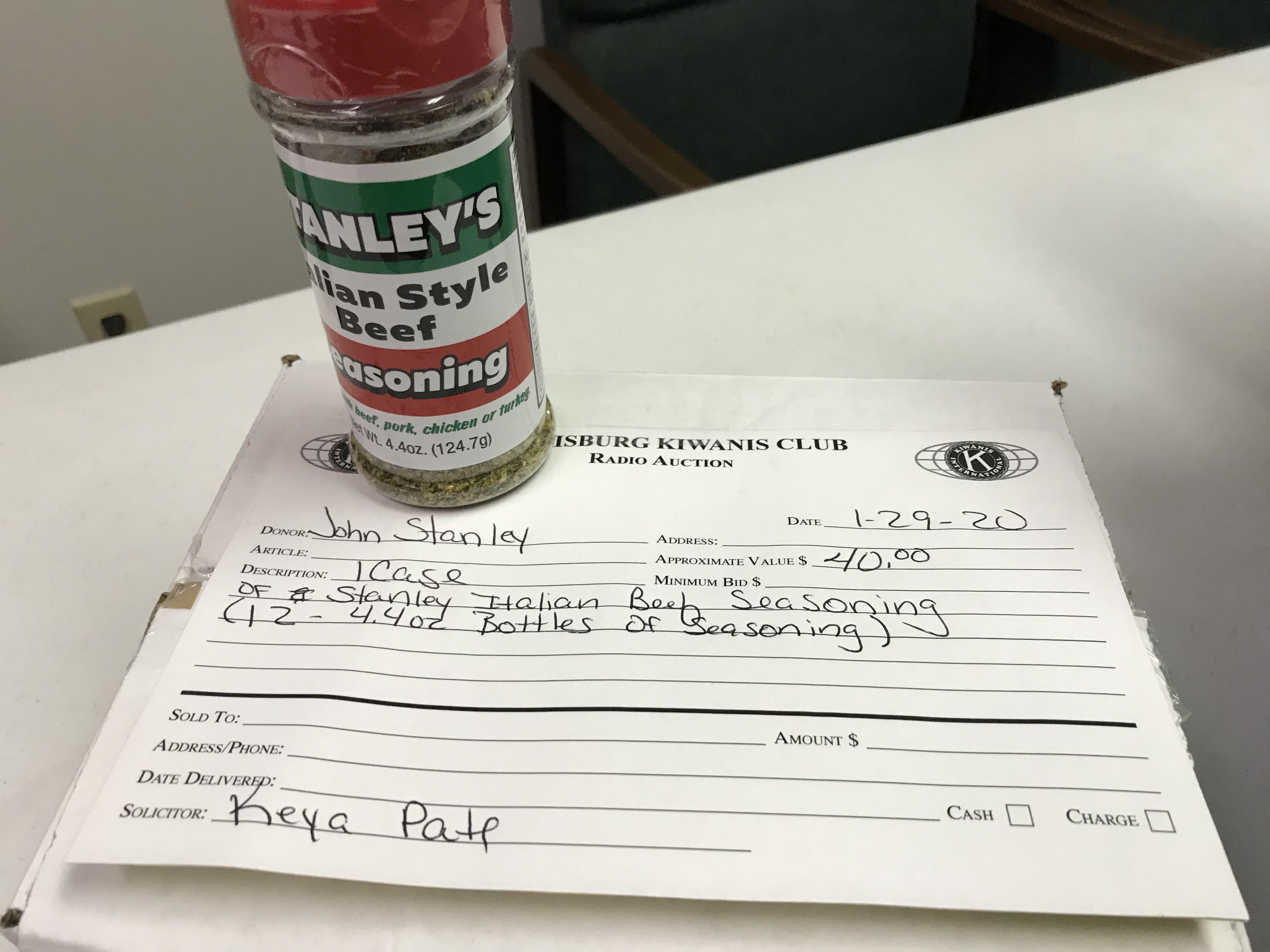 Item 418 - John Stanley 1 Case (12 4.4 oz Bottles) of Stanley's Italian Beef Seasoning