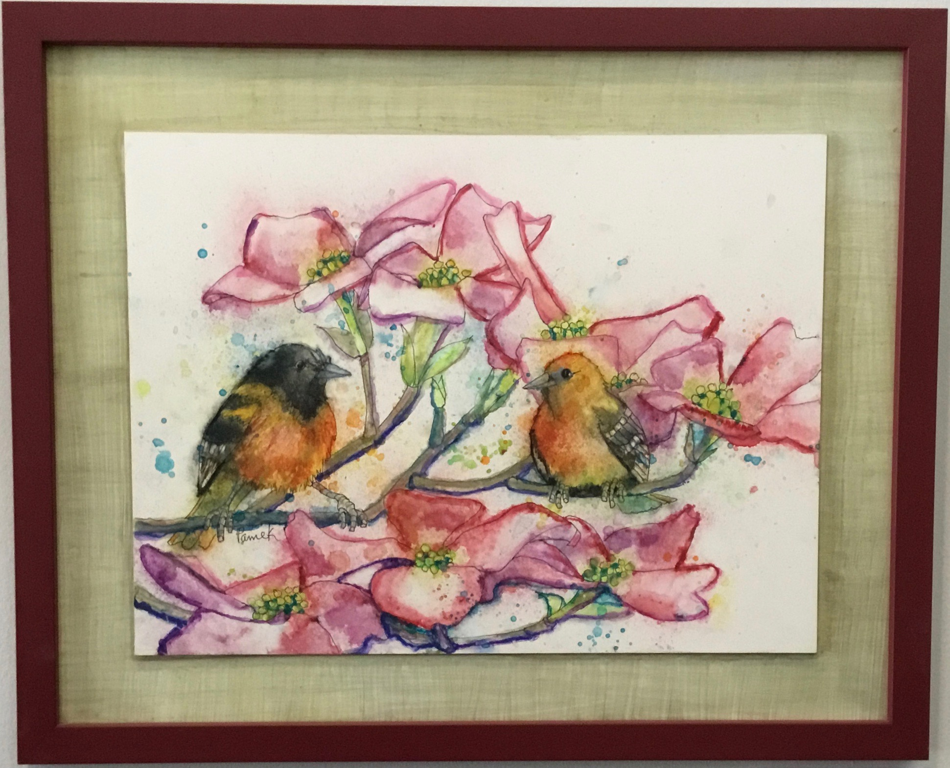 "Orioles and Dogwood Watercolor and Ink 21"" X 17"" $750."