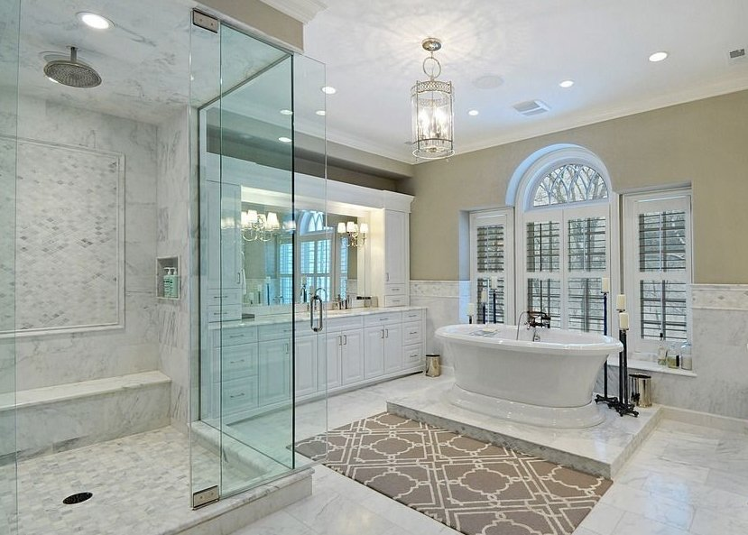 White Bathroom Interior in Luxury House