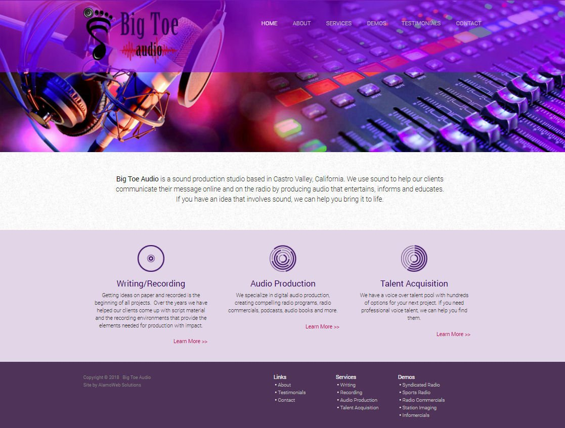 Big Toe Audio Website