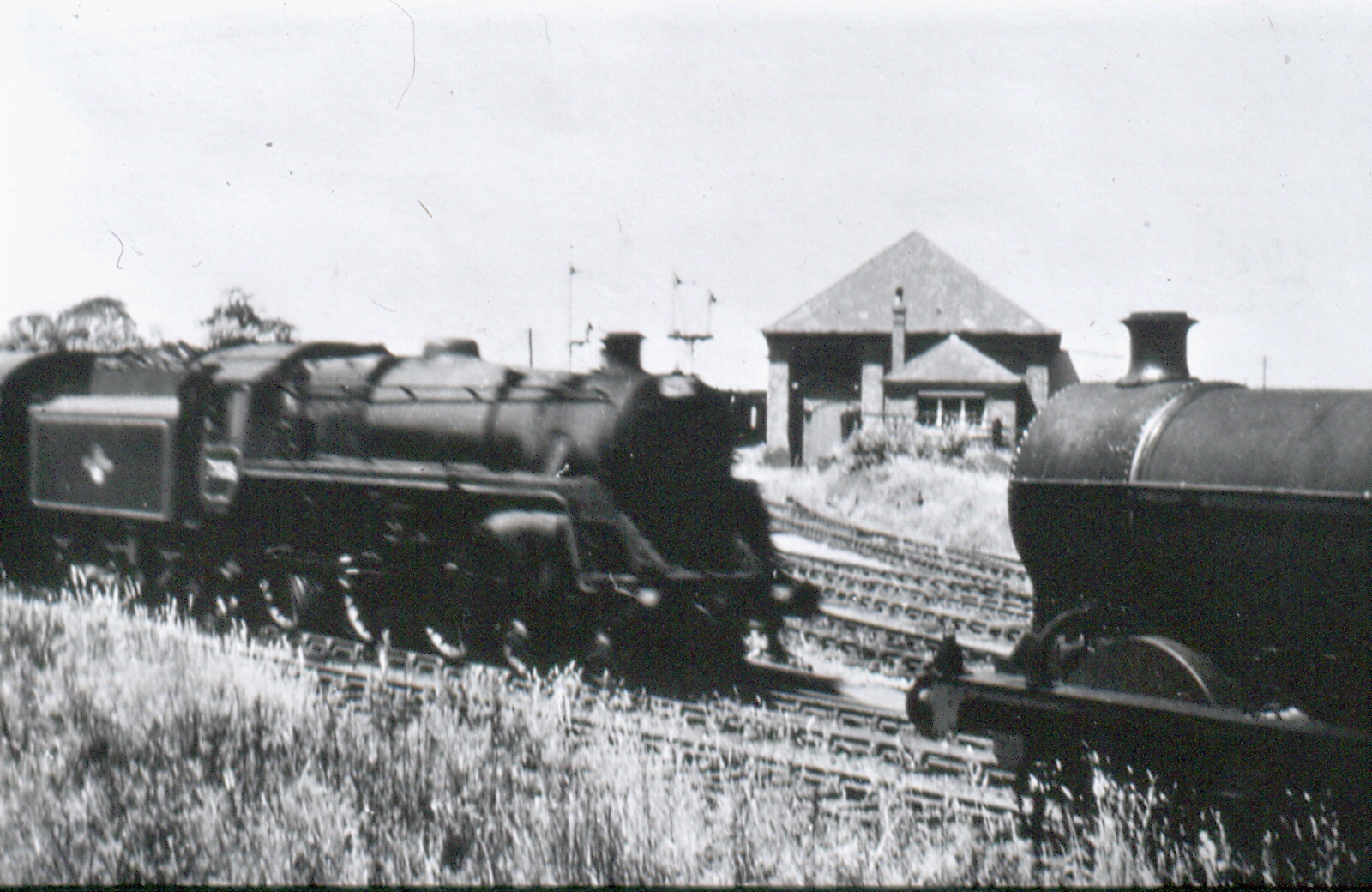 Start of the branch line seen between two engines.