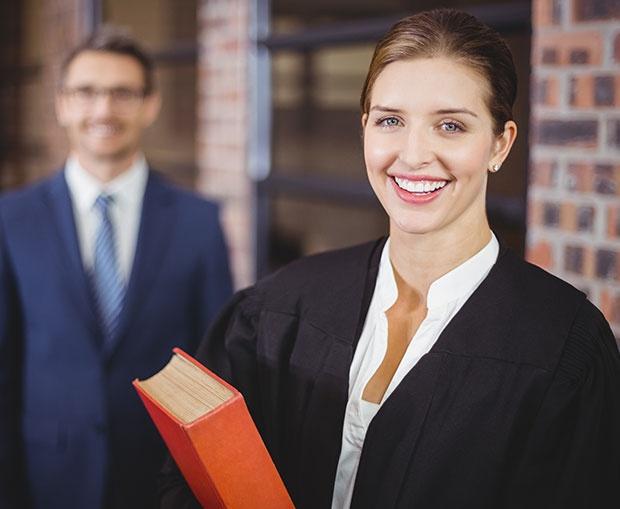 Happy Female Lawyer with Businessman