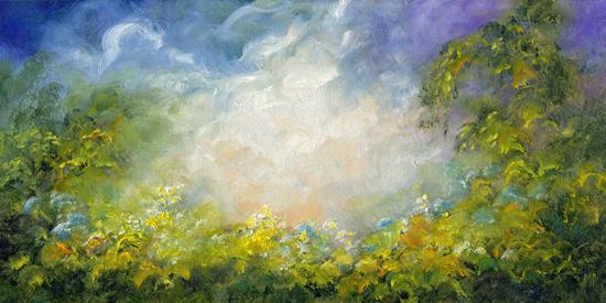 """Garden Of Light ~ 6"""" x 12"""" Oil on Canvas Textured Panel   $150"""