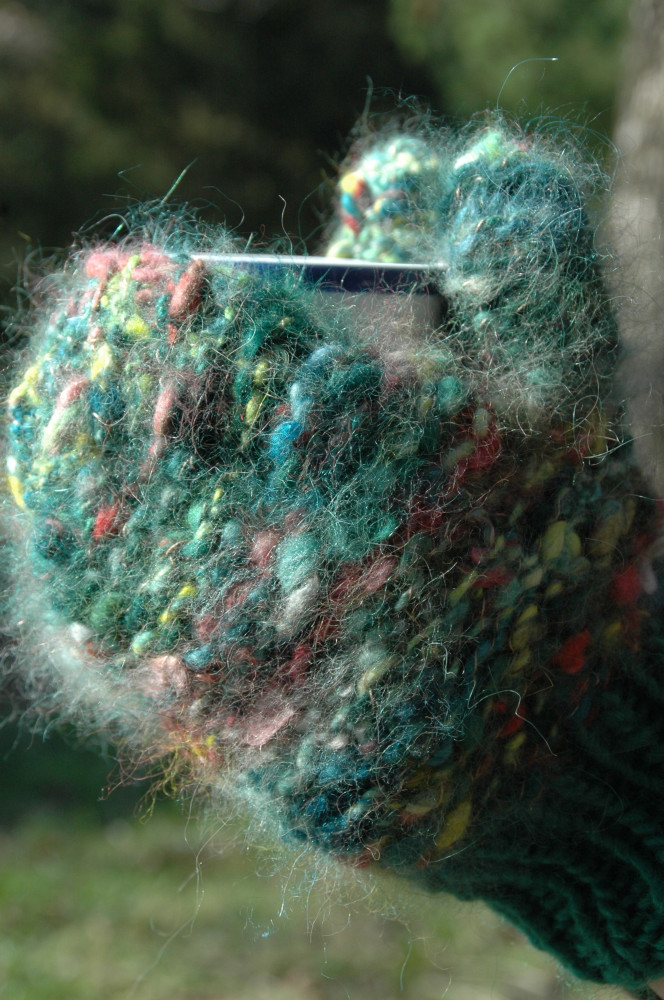 Hand spun hand knitted angora mittens in Prairie color