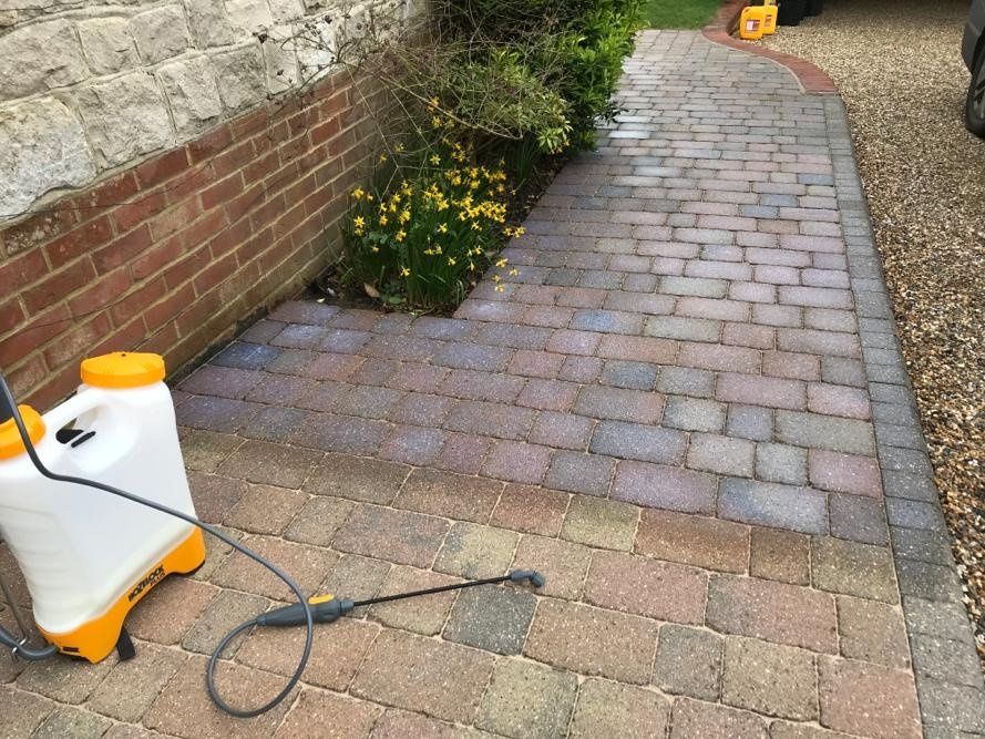 Sealant Being Applied to Block Paving After Re-Sanding