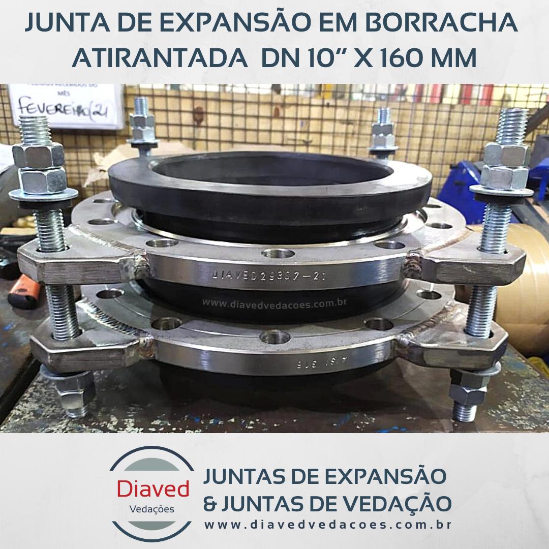"""Junta de expansão em borracha atirantada - DN 10"""" x 160 mm"""