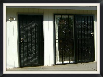 Elegante Patio Door guard with steel screen on active side only. Shown next to single Elegante security screen door