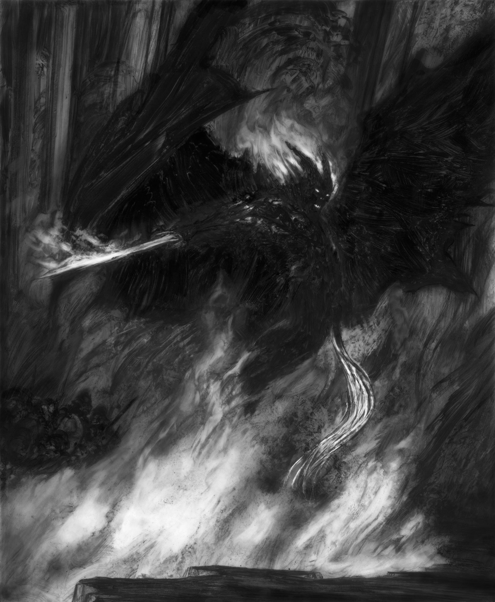 "The Balrog of Moria - Chasm 17"" x 14"" graphite pencil and paint 2019 private collection"