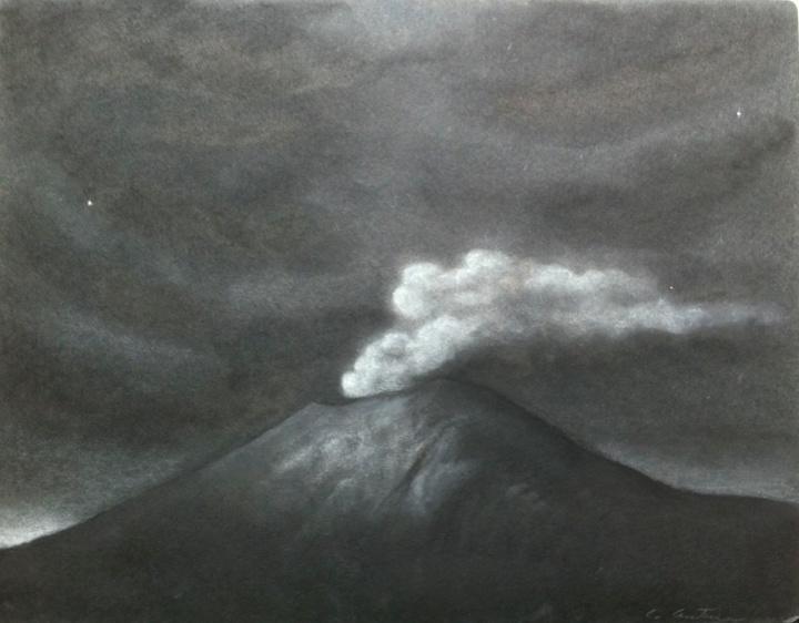 Volcanes Popocatépetl (Night)  smoke 1 Gouache y lápiz de color sobre panel 9 x 12 pulgadas