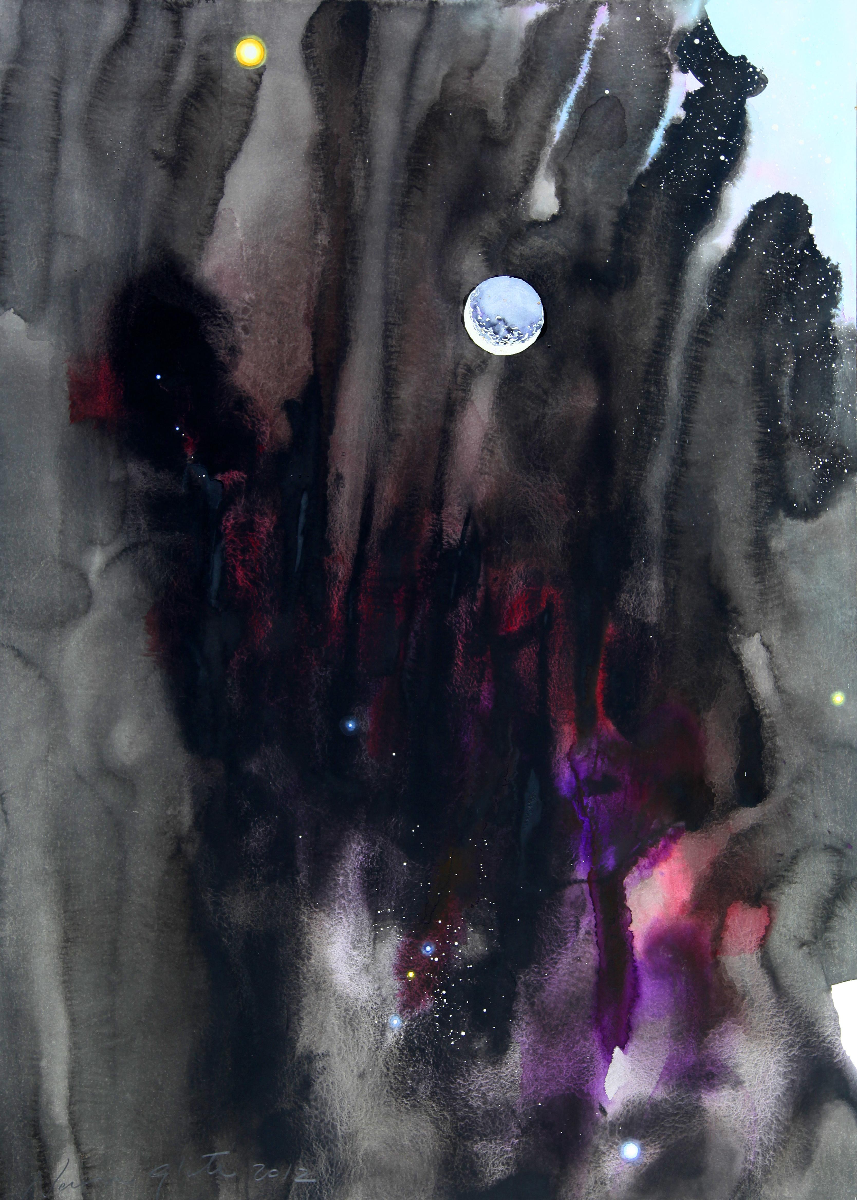 La luna extraviada Acuarela 125 x 166