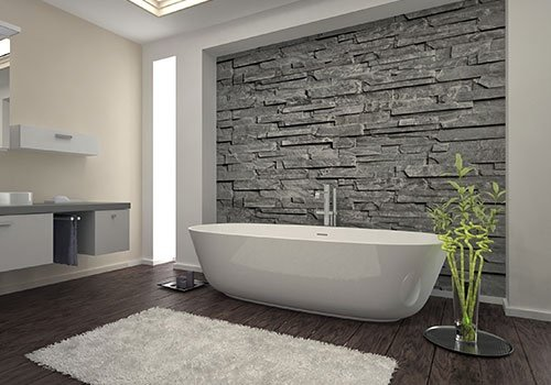 Bathroom Interior With Stone Wall