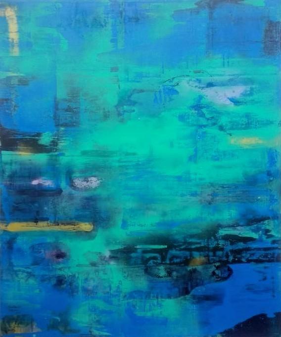 Homenaje a Monet Acrílico, pigmentos, pintura de spray s/lino 120 x 100 cms