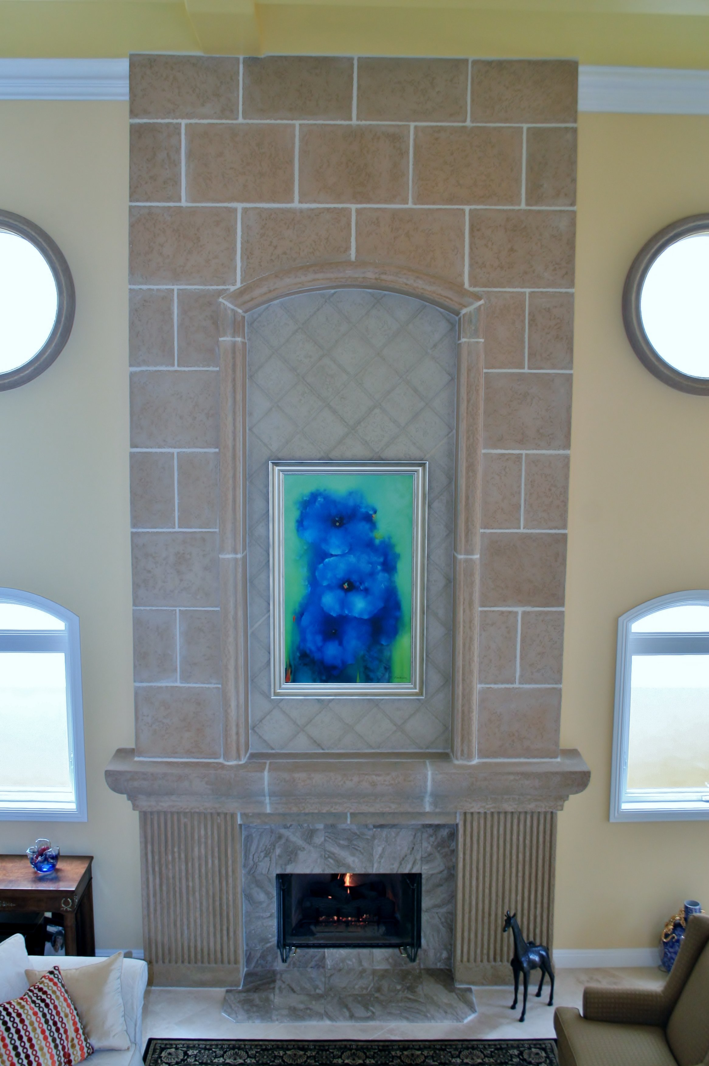 Colored Concrete Tiles and Mantle