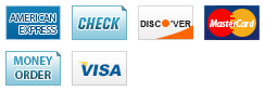 We accept American Express, Check, Discover, MasterCard, Money Order and Visa.