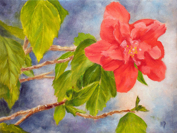 """Hibiscus - 6""""x8"""" Oil on Stretched Canvas"""
