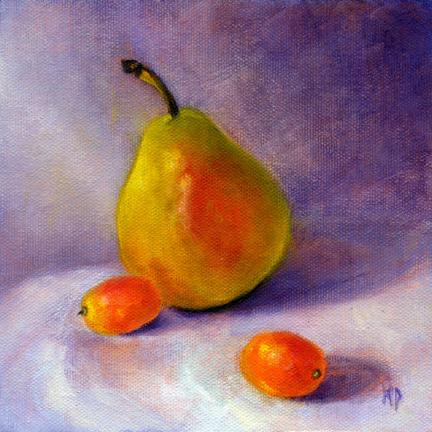 "Pear & Kumquats ~ 6"" x 6"" Oil on Canvas Panel"