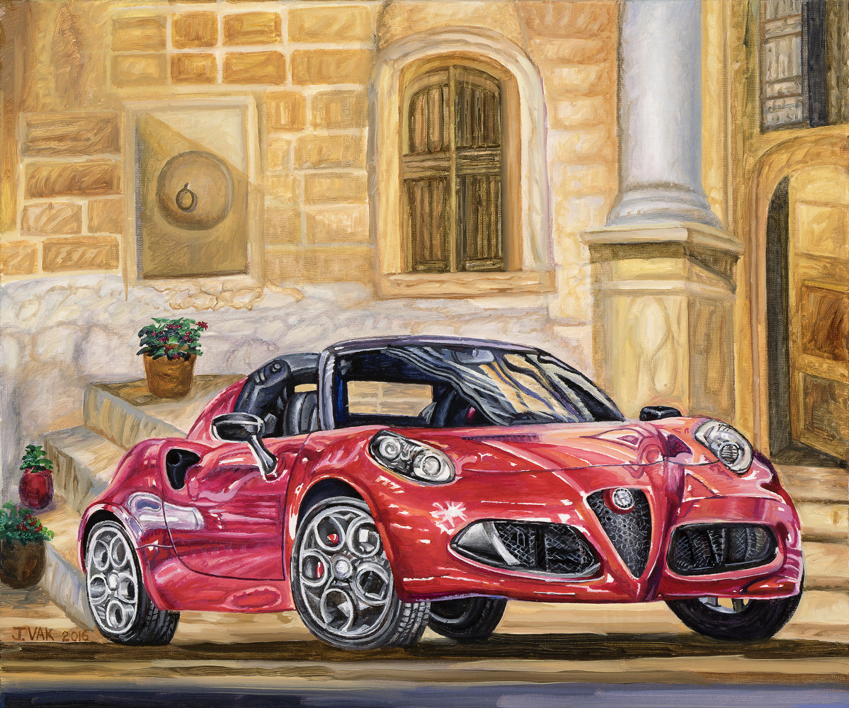 Alfa Romeo 4C Spider 20 X 24 Oil on Canvas $2500 2016